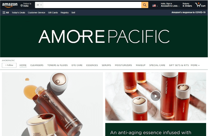 amazon online shopping page of Amore Pacific US brand and the product images are beauty items