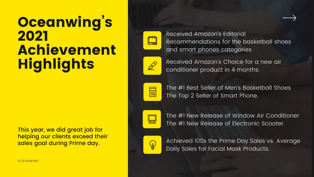 First part have yellow background and write Oceanwing's 2021 Achievement Highlights and the next part describes this acheivements with icons with a background image someone typing in keyboard