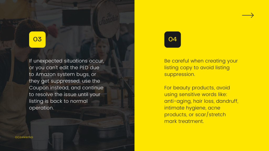 first part of the image describe how to solve the unexpected situation or can not edit PED with a background of a coffee shop and second part describe how to avoid listing suppression with yellow background.