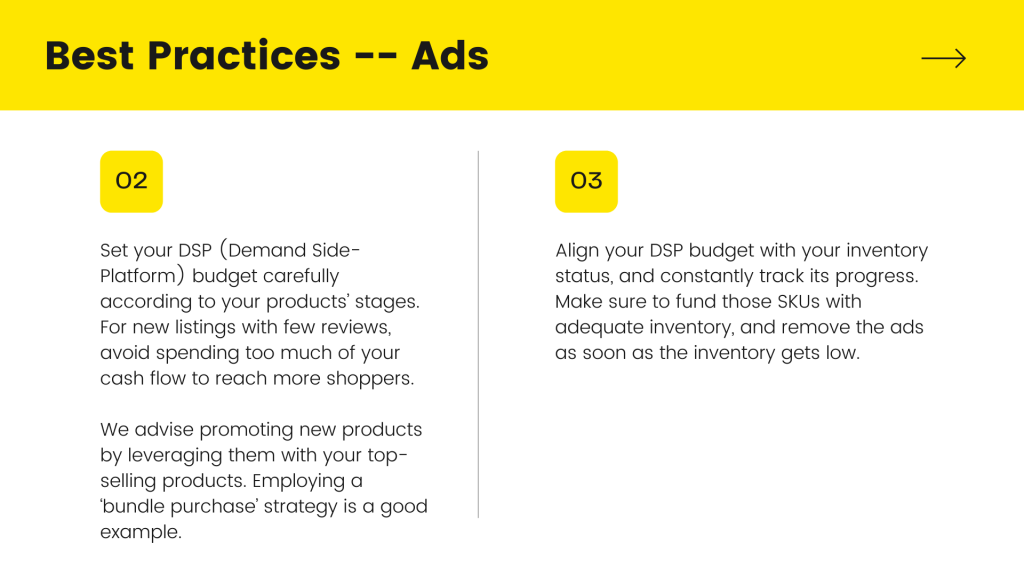 description about DSP in white background and heading is Best Practices - Ads with yellow background